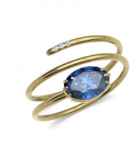 Yellow gold ring with Diamonds and Iolite