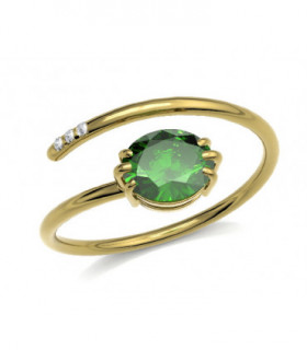 Yellow gold ring with Emerald and Diamonds