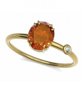 Yellow gold ring with orange Sapphire and Diamond