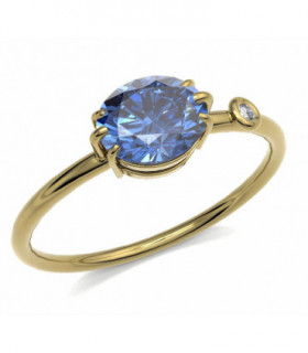 Yellow gold ring Sapphire and Diamond
