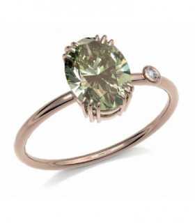 Rose gold ring with green Tourmaline and Diamond