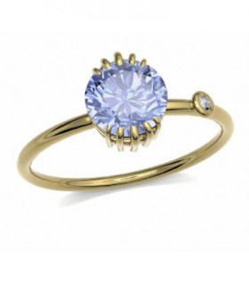 Yellow gold ring with Tanzanite and Diamond