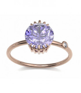Rose gold ring with purple Sapphire and Diamond
