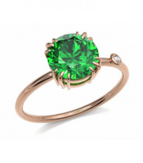 Rose gold ring with Emerald and Diamond
