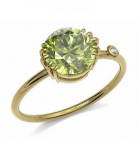 Yellow gold ring with Peridot and Diamond