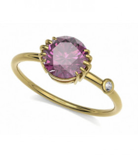 Yellow gold ring with Rhodolite and Diamond