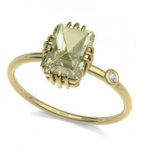 Yellow gold ring with yellow Tourmaline and Diamond
