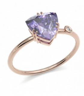 Rose gold ring with Amethyst and Diamond