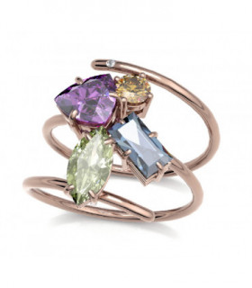 Rose gold ring with Rhodolite, Peridot, Topaz, Tourmaline and Diamond