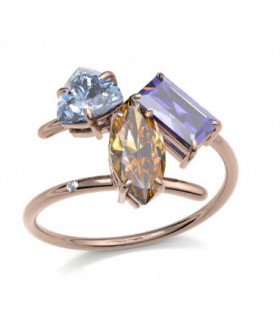 Rose gold ring with Amethyst, Topaz, Citrine and Diamond