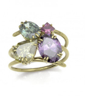 Yellow gold ring with semi-precious stones