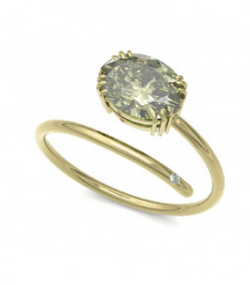 Yellow gold ring with Diamonds and Peridot