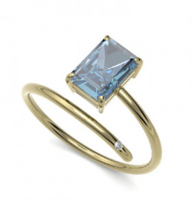 Yellow gold ring with Topaz and Diamond