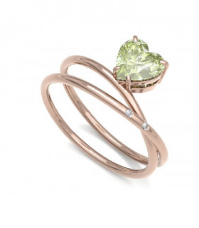 Rose gold ring with Peridot and Diamonds