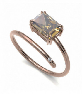 Rose gold ring with yellow Tourmaline and Diamond