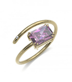 Yellow gold ring with rose Tourmaline and Diamond