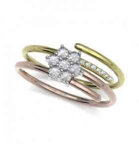 Rose and yellow gold ring with Diamonds