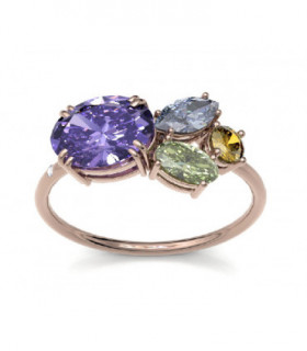 Rose gold ring with Diamonds and semi precious gemstones