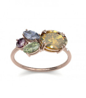 Yellow gold ring with semi precious gemstones and Diamonds