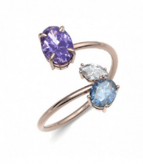 Rose gold ring with semi precious gemstones and Diamonds
