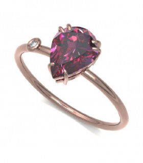 Rose gold ring with Rhodolite and Diamond