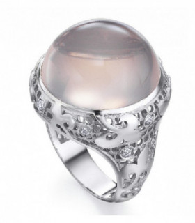 White gold ring with Diamonds and Rose quartz