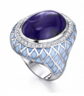 White gold ring with Diamonds, enamel and Amethyst