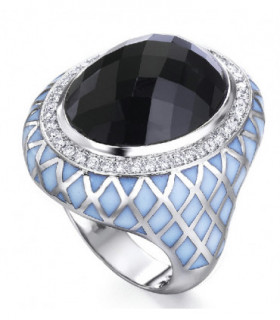 White gold ring with enamel, Spinel and  Diamonds