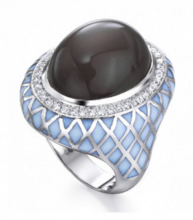 750 gold ring with Diamonds,Moonstone and enamel.