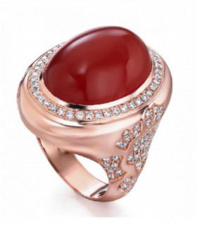 Rose gold ring with Carnelian and Diamonds