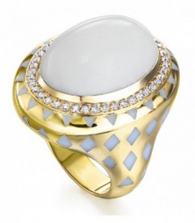 Yellow gold ring with Diamonds, Chalcedony and Enamel