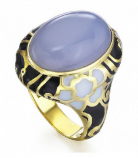 Yellow gold ring with blue Chalcedoy and enamel